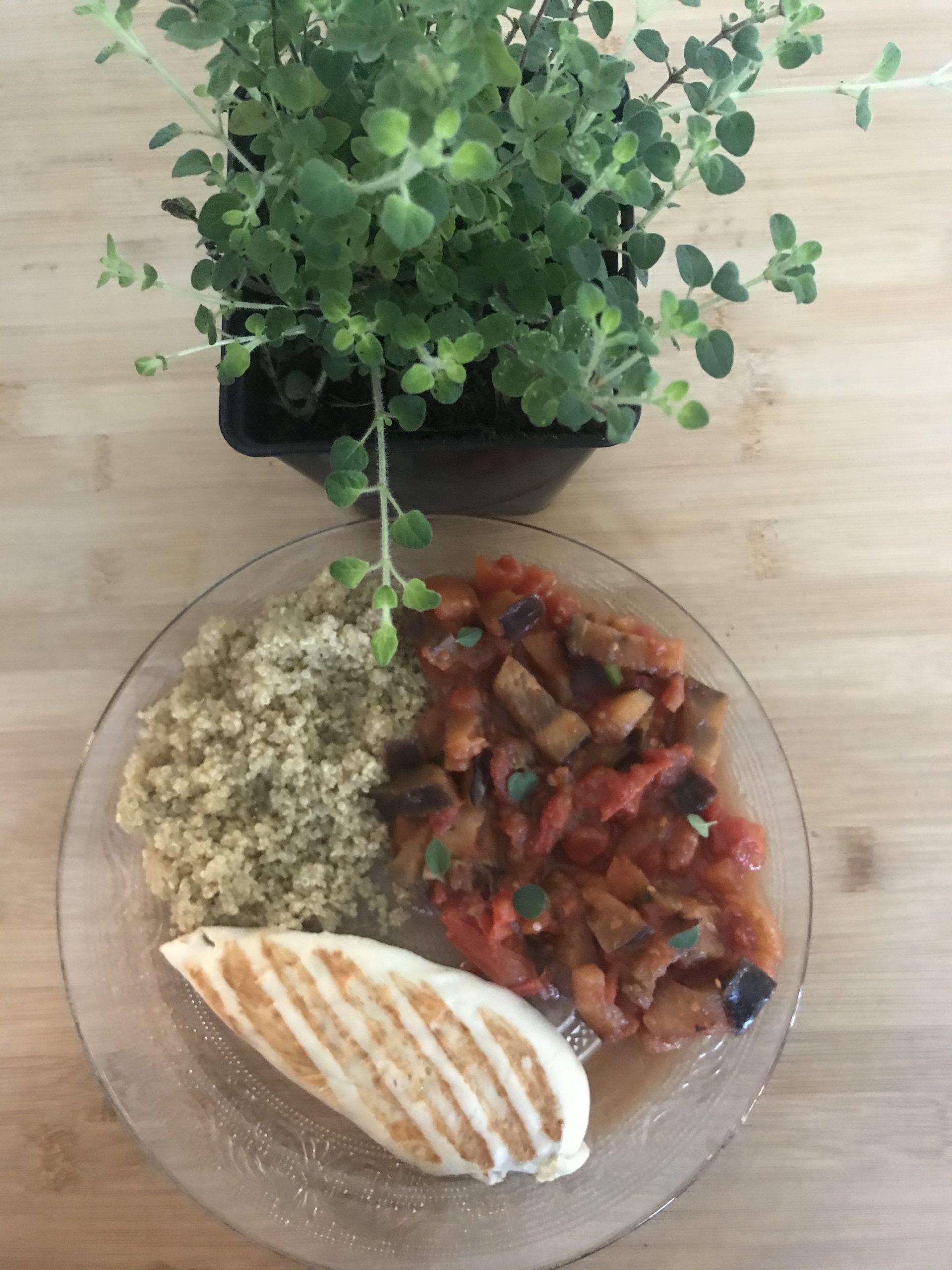 Fondue d'aubergines à la tomate et à l'origan crétois
